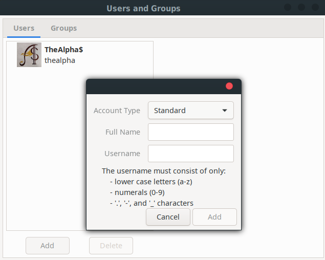 User And Groups Window